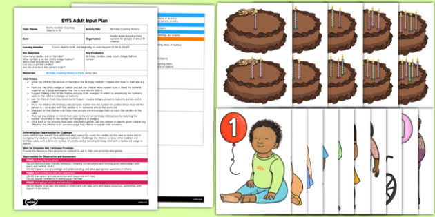 Birthday Counting EYFS Adult Input Plan and Resource Pack - birthday, counting, eyfs, adult, input
