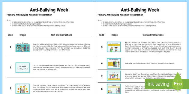 Anti Bullying KS1 Assembly Script - bully, bullying,kind, friend, relationship, getting on, pshe, social, nice, rules, behaviour