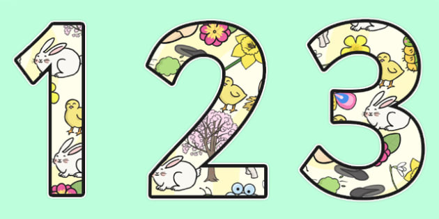 A4 Spring Themed Display Numbers - Display numbers, spring themed, spring themed display numbers, spring display, themed display numbers