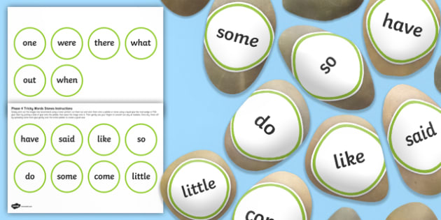 Tricky Words Stone Cut Outs Phase 4 - letters and sounds, phonics, early years, ks1, role play, independent activity, kinaesthetic learning