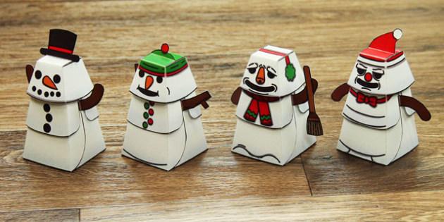 Build a 3D Snowman Activity - build, 3d, snowman, activity, craft, model, paper
