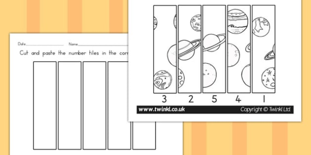 Space Themed Number Sequencing Puzzle - australia, space, puzzle