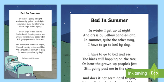Bed in Summer by Robert Louis Stevenson Poem Print-Out