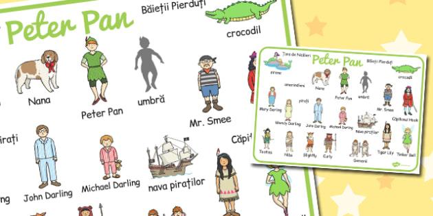 Peter Pan, Plansa cu  imagini  si cuvinte din poveste , Romanian