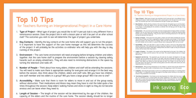 Top 10 Tips How to Run an Intergenerational Project in a Care Home Teaching Ideas - Top 10 Tips, Advice, Ideas, Support, Carers, Schools, Activity Co-ordinators, Care Staff, Intergener
