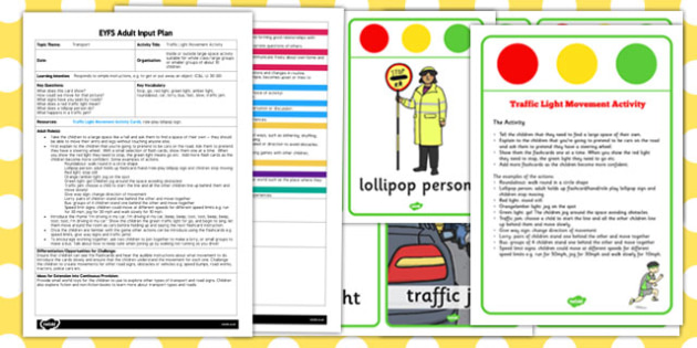 Traffic Light Movement Activity EYFS Adult Input Plan and Resource Pack