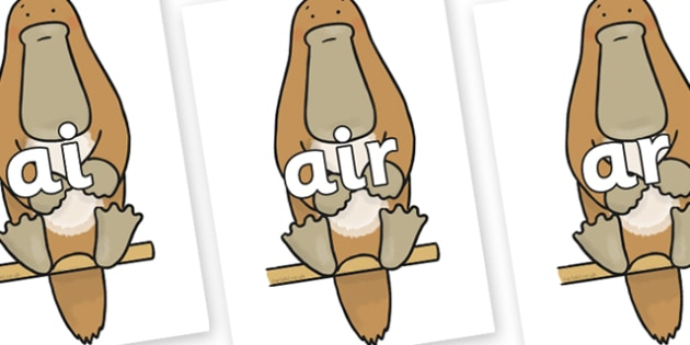 Phase 3 Phonemes on Platypus - Phonemes, phoneme, Phase 3, Phase three, Foundation, Literacy, Letters and Sounds, DfES, display