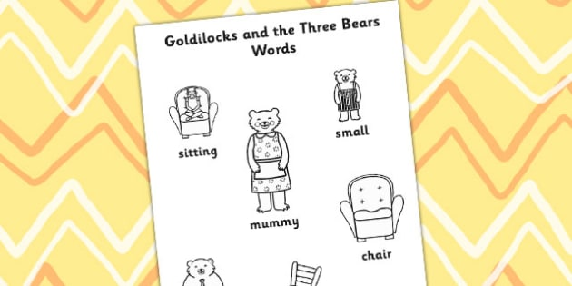 Goldilocks and the Three Bears Words Colouring Differentiated