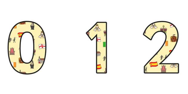 Elizabeth I Themed A4 Display Numbers - elizabeth I, elizabeth 1st, display numbers, themed number, classroom numbers, numbers for display, a4 numbers