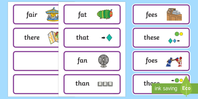 Voiced 'th' and 'f' Minimal Pair Cards - voiced th, fricatives, articulation, phonology, speech sounds, dyspraxia, minimal pairs