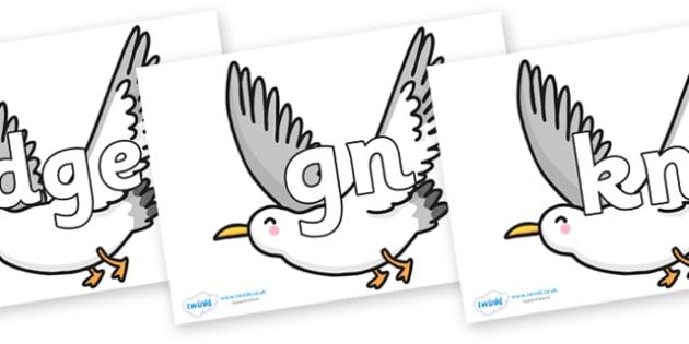 Silent Letters on Seagulls - Silent Letters, silent letter, letter blend, consonant, consonants, digraph, trigraph, A-Z letters, literacy, alphabet, letters, alternative sounds