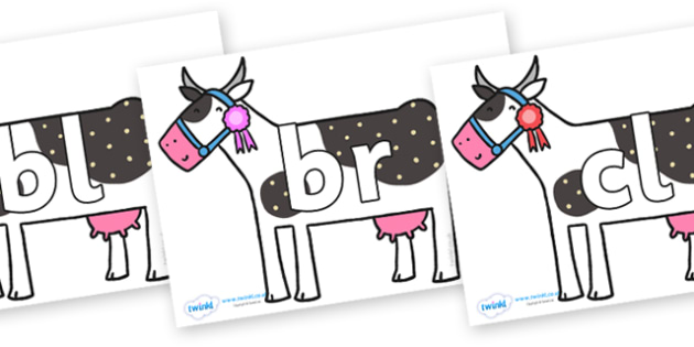 Initial Letter Blends on Cow to Support Teaching on What the Ladybird Heard - Initial Letters, initial letter, letter blend, letter blends, consonant, consonants, digraph, trigraph, literacy, alphabet, letters, foundation stage literacy