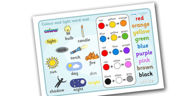 Colour And Light Word Mat -  colour and light, colour, light, display, banner, sign, poster, bulb, candle, lighting, sun, torch, fire, day, dim, shadow, night, bright, dark, sources, source, sources of light, red, yellow, orange, green, blue