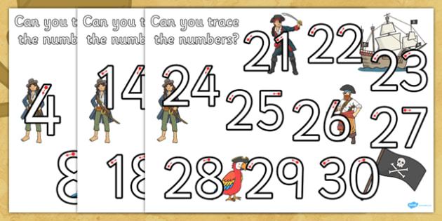 Pirate Themed Number Formation Pack - pirate, number formation, pack, number, formation, overwriting