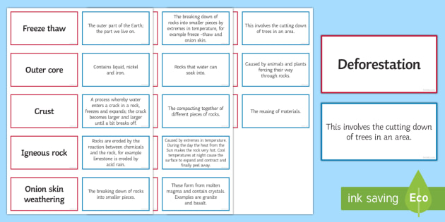 The Earth Pairs Glossary Activity - Glossary, earth, rocks ,igneous, freeze-thaw, weathering , porous.