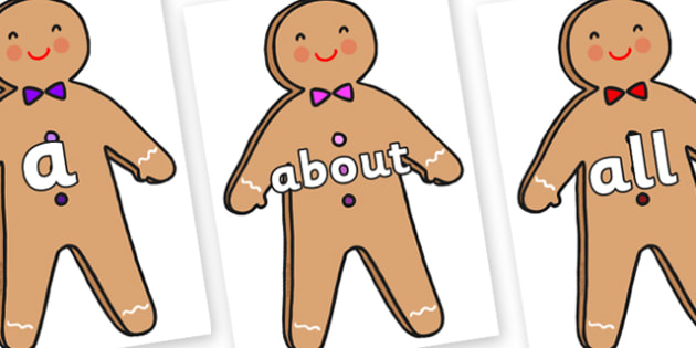 100 High Frequency Words on Gingerbread Man - High frequency words, hfw, DfES Letters and Sounds, Letters and Sounds, display words