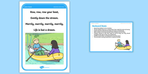 Foundation PE (Reception) Backward Boats Cool-Down Activity Card - physical activity, foundation stage, physical development, games, dance, gymnastics