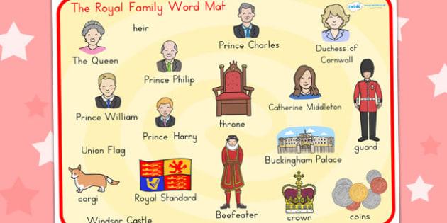 Royal Family Word Mat - royality, queen, keywords, visual aids