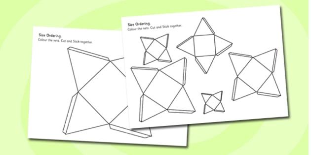 Pyramid Size Ordering Nets - 3d, shape, cube, shape net, size, pyramid, square-base, order