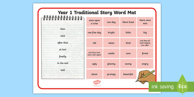 Year 1 Traditonal Story Word Mat - word mat, words, vocabulary, story, writing, traditional, fairytale, help, Year 1, y1, display, engl