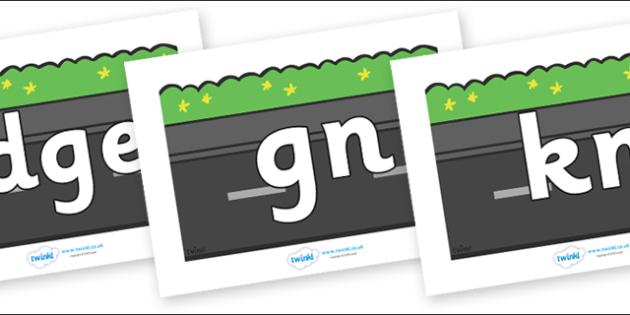Silent Letters on Roads (Plain) - Silent Letters, silent letter, letter blend, consonant, consonants, digraph, trigraph, A-Z letters, literacy, alphabet, letters, alternative sounds