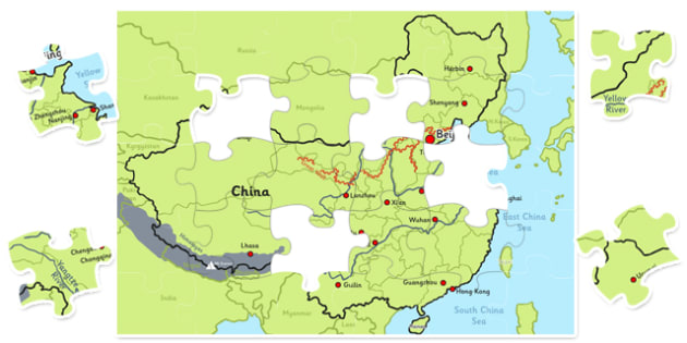 Map of China Jigsaw - map, china, jigsaw, activity, class, puzzle