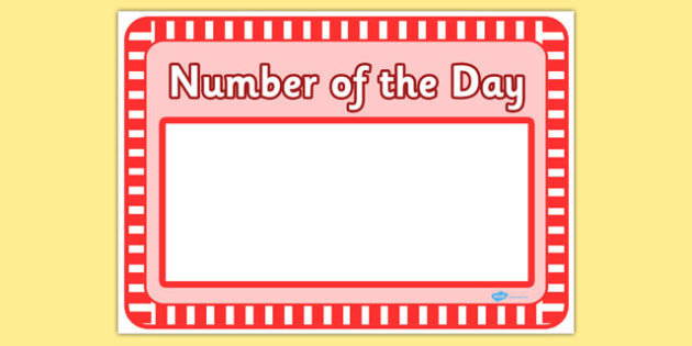 Number of the Day Sheet - number of the day, sheet, number, day