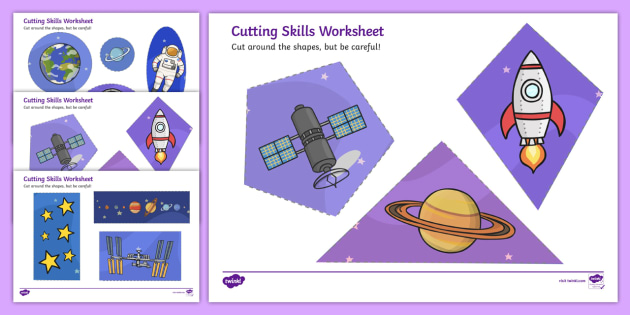 space themed cutting skills sheet cut fine motor skills. Black Bedroom Furniture Sets. Home Design Ideas