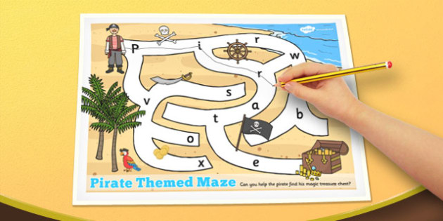 Pirate Themed Maze Activity Sheet - pirate, themed, maze, puzzle, activity, worksheet