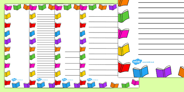 Books Page Borders - writing, literacy, border, book, frames
