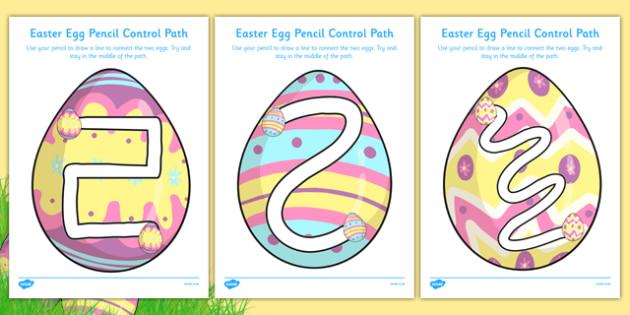 Easter Egg Pencil Control Path Activity Sheet Pack - easter egg, pencil control path, activity, sheets, worksheet