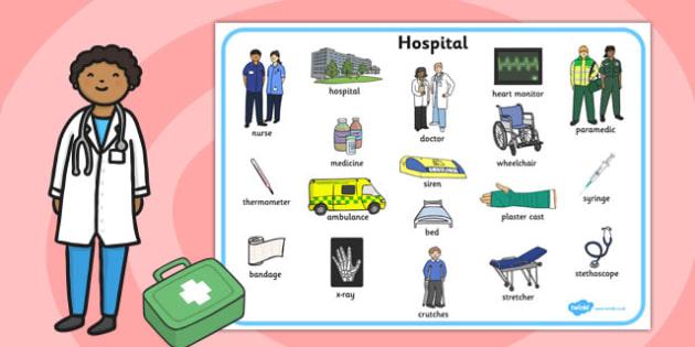 Hospital Word Mat - hospital, word mat, word, mat, doctors, health