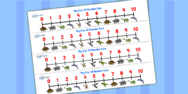 Realistic Dinosaurs Number Lines 0 10 - dinosaur, number lines