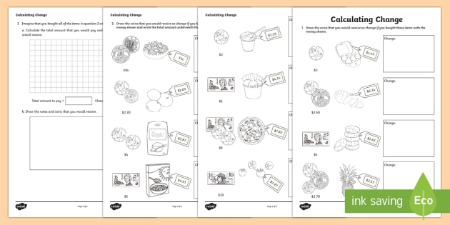 Calculating Change Activity Sheet-Australia - Australian currency, money, change, rounding, Australia, worksheet