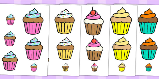 Cupcake Themed Size Ordering - size order, order, sort, food