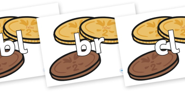 Initial Letter Blends on Chocolate Coins - Initial Letters, initial letter, letter blend, letter blends, consonant, consonants, digraph, trigraph, literacy, alphabet, letters, foundation stage literacy