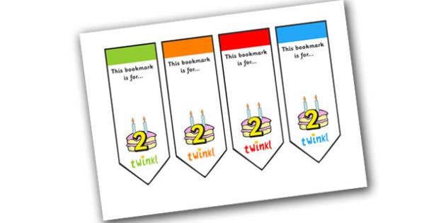 Editable Birthday Bookmarks (Age 2) - Bookmark, birthday, age 2, birthday gift, present, book, reward, achievement