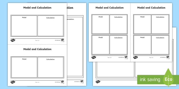 Model and Calculation Activity Sheet - Model, calculation, concrete, pictorial, abstract,worksheet