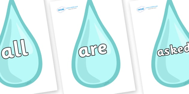 Tricky Words on Water Droplets - Tricky words, DfES Letters and Sounds, Letters and sounds, display, words
