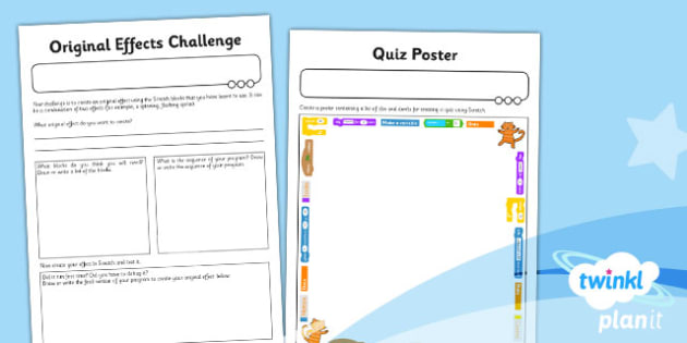 Computing: Scratch Questions and Quizzes Year 4 Unit Home Learning Tasks