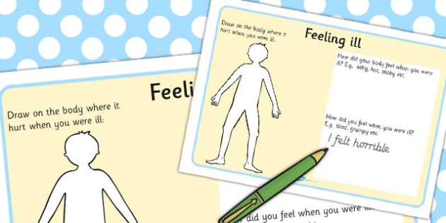 Feeling Ill Worksheet - worksheets, feelings, illness, sickness