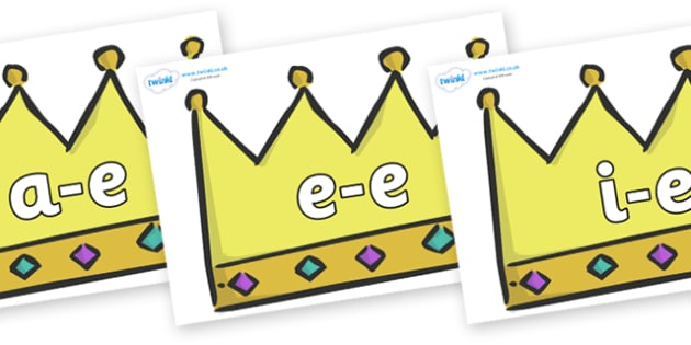 Modifying E Letters on Crowns (Plain) - Modifying E, letters, modify, Phase 5, Phase five, alternative spellings for phonemes, DfES letters and Sounds