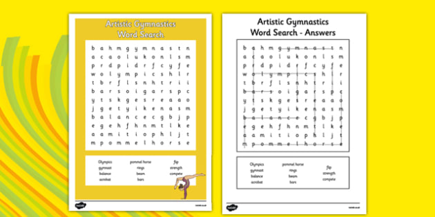 The Olympics Artistic Gymnastics Word Search - olympics, artistic gymnastics, artistic, gymnastics, wordsearch, word search
