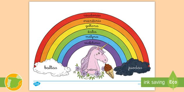 Colores del arco iris - Lituano Póster - Día, idiomas, europeo, lenguas, unión europea, Europa, internacional, Spanish