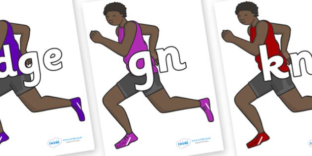 Silent Letters on Runners - Silent Letters, silent letter, letter blend, consonant, consonants, digraph, trigraph, A-Z letters, literacy, alphabet, letters, alternative sounds