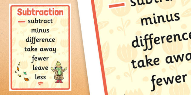 Autumn Themed Subtraction Vocabulary Display Poster - autumn, subtraction, vocabulary, display