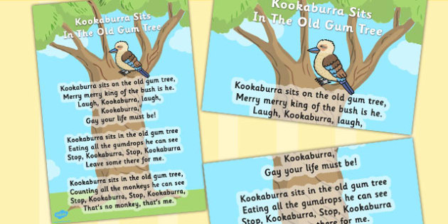 Kookaburra Sits in the Old Gum Tree Song Poster - song, poster