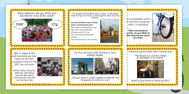 Tour de France Literacy Challenge Cards - le tour, activity cards