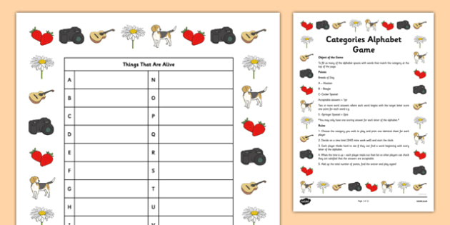 Home Education Categories Alphabet Game - scattergories, lists, word games