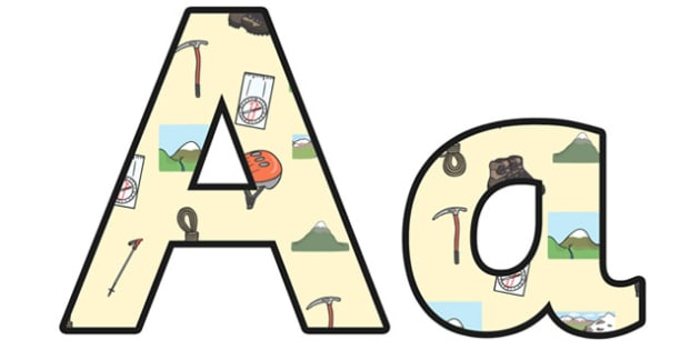 Mountains Lowercase Display Lettering - mountains, mountains display lettering, mountains display letters, mountains themed alphabet letters, geography ks2